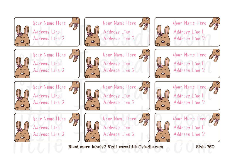 Return Address Labels - Adorable Brown Bunnies - Style 760