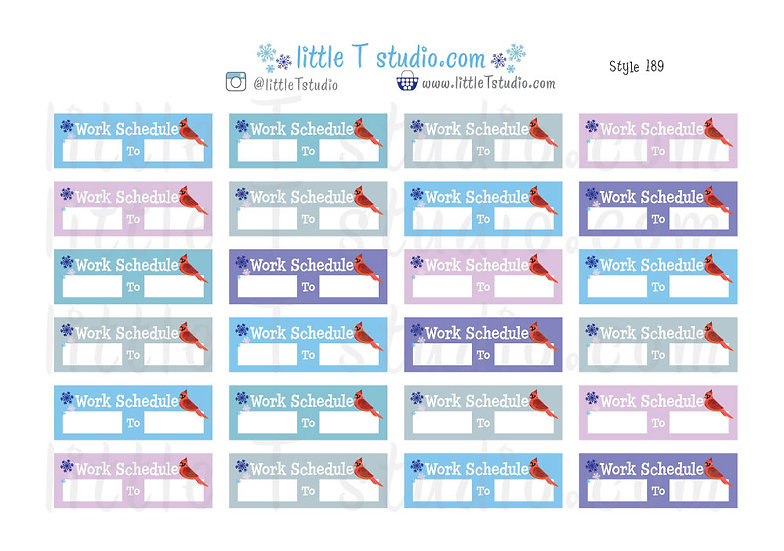Work Schedule Winter Themed Stickers - Style 189