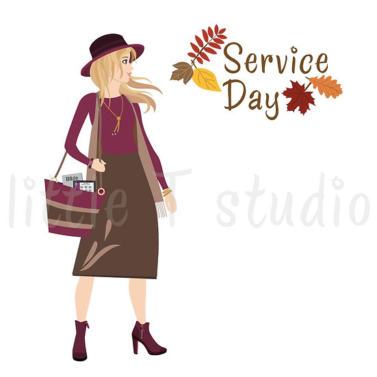 Happy in the Ministry Fall Themed Service Day Stickers - Blonde Hair - Style 684