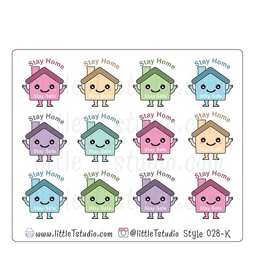 Kawaii Stickers - Stay Home Stay Safe - Style 028-K