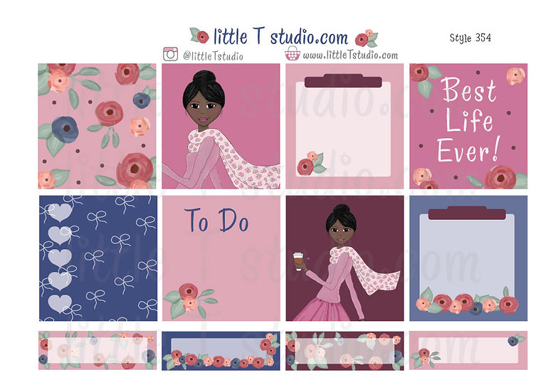 Cart Witnessing Girl - Erin Condren Horizontal Stickers - Style 354