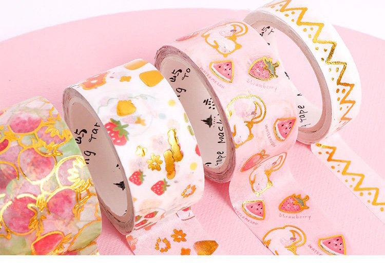 Washi Tape - Gold Foil Kittens and Strawberries - Set of 5 Rolls