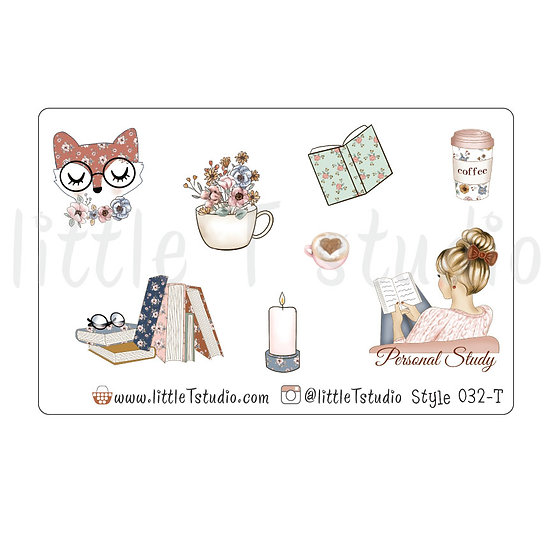 Personal Study Stickers - Light Skin, Blonde Hair - Style 032-T