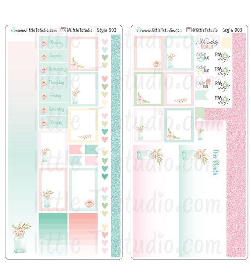 Hobonichi Weeks - Monthly Sticker Kit - Shabby Chic -Styles 902, 903