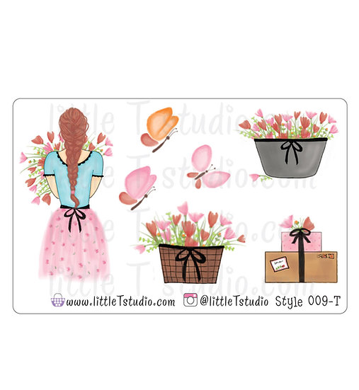 Spring Floral Girl Stickers - Style 009-T