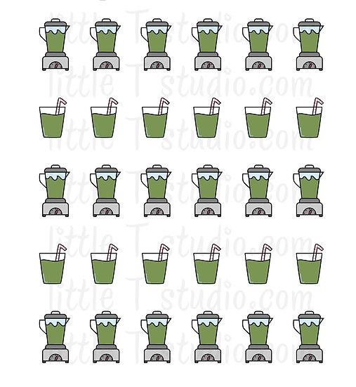 Green Veggie Juice in Blender and Cup Mini Size Stickers - Style 176M