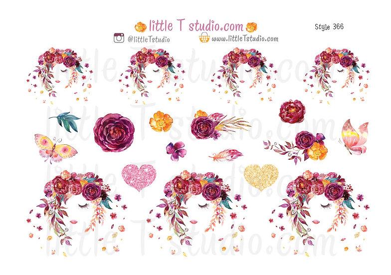 Floral Serenity - Decorative Sticker Sheet - Style 366