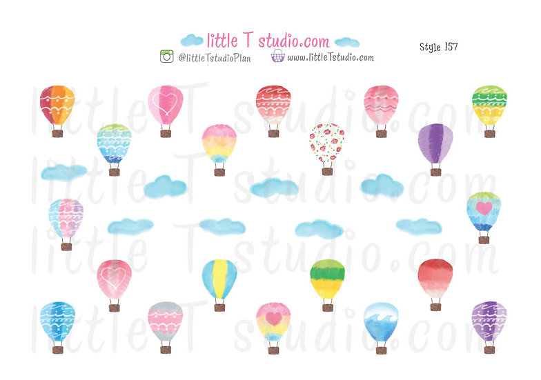 Hot Air Balloon Stickers - Style 157