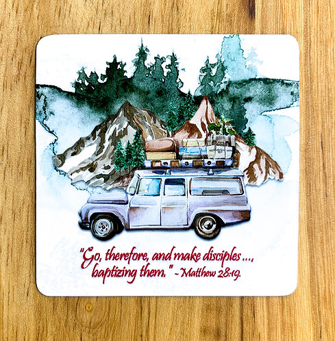 Square Magnet - Go Therefore... Travel Theme