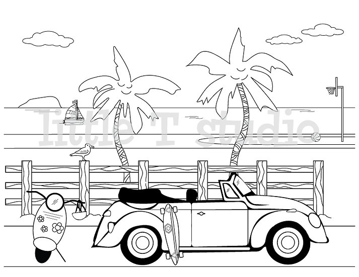 Fun Sports on the Beach Coloring Page