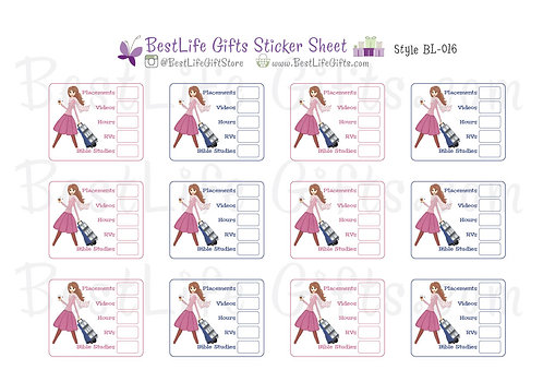 Field Service Tracker Cart Girl Stickers - Style BL-016