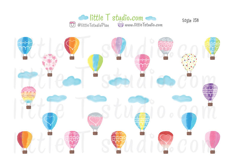 Hot Air Balloons Sticker Variety Pack Set 2- Style 158