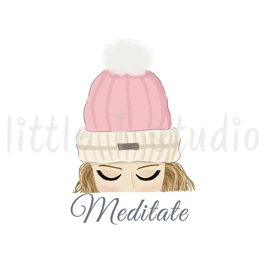 Meditate Stickers - Blonde Hair - Winter Themed - Style 1127 or 319M
