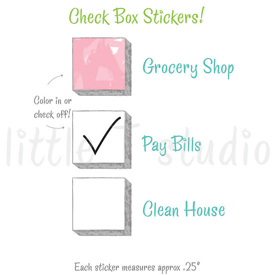 Mini Check Box Watercolor Stickers -  To Do List - Style 508M