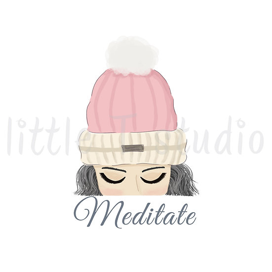 Meditate Stickers - Grey Hair - Winter Themed - Style 1131 or 323M