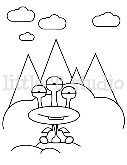 Imaginary Creatures Blink - Kids Coloring Page