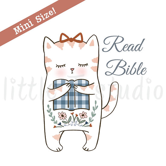 Read Bible Hygge Cat Mini Size Stickers - Style 448M