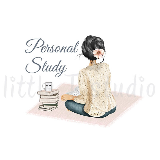 Cozy Home Black Hair Personal Study Stickers - Style 1111 or 499M