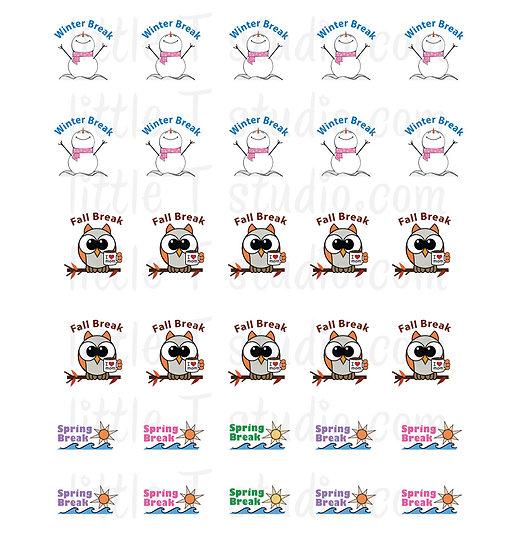 Winter Break, Fall Break and Spring Break Reminder Mini Stickers - Style 064M