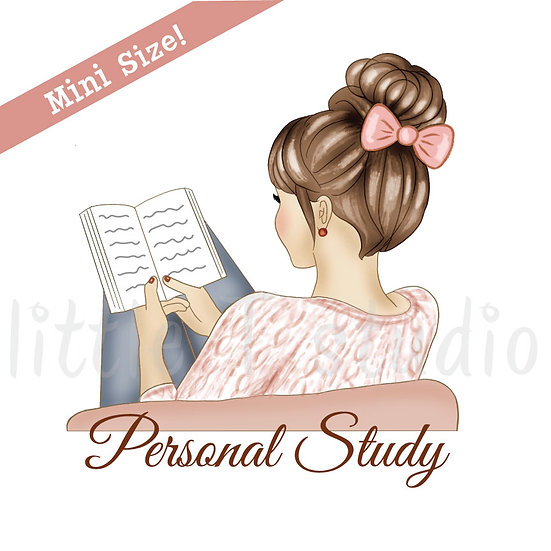 Personal Study Mini Size Stickers - Light Skin, Light Brown Hair - Style 425M