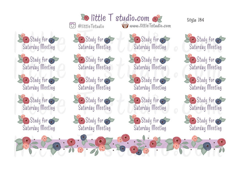 Study for Saturday Meeting Reminder Stickers - Style 184