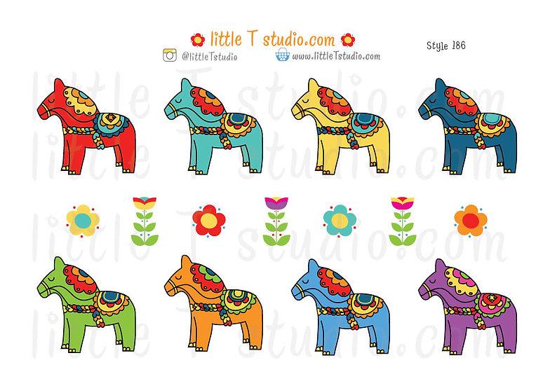 Scandinavian Dala Horse Stickers - Style 186