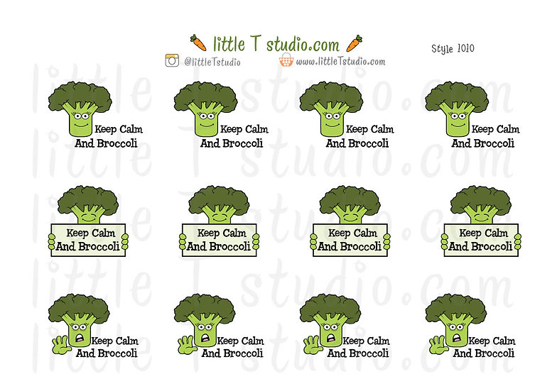 Keep Calm And Broccoli Stickers - Style 1010