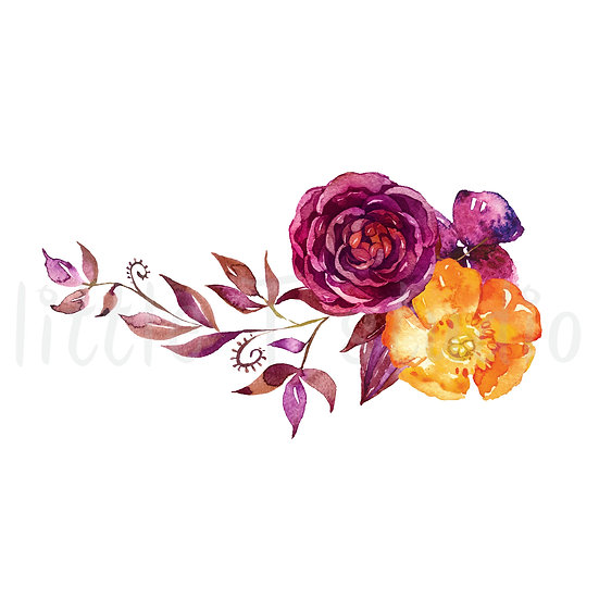 Rose Bouquet Floral Watercolor Stickers - Style 1151
