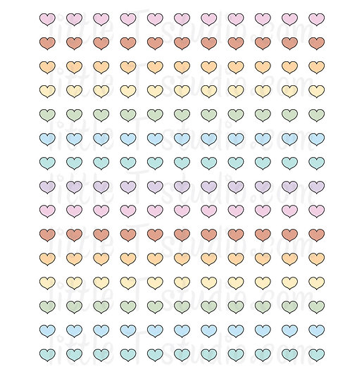 Pastel Heart Colors Mini Size Stickers - Style 152M