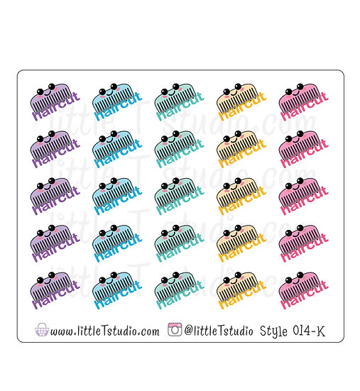 Kawaii Stickers - Hair Cut - Style 014-K