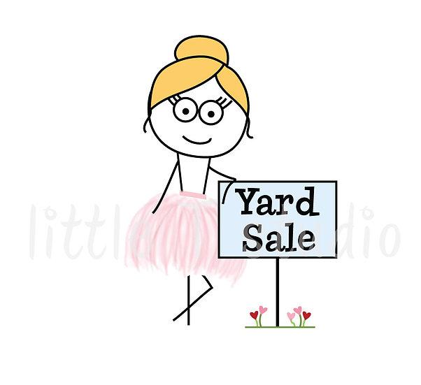 Busy Ballerina - Yard Sale Reminder Stickers - Style 210