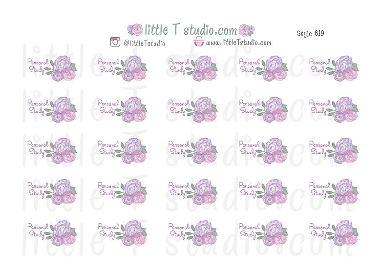 Personal Study Purple Rose Floral Script Reminder Stickers - Style 619