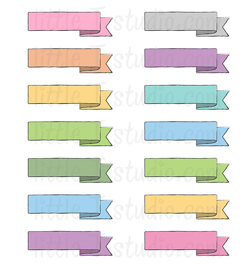 Blank Banner Header Sticker Flags - Pastel Colors - Style 500M