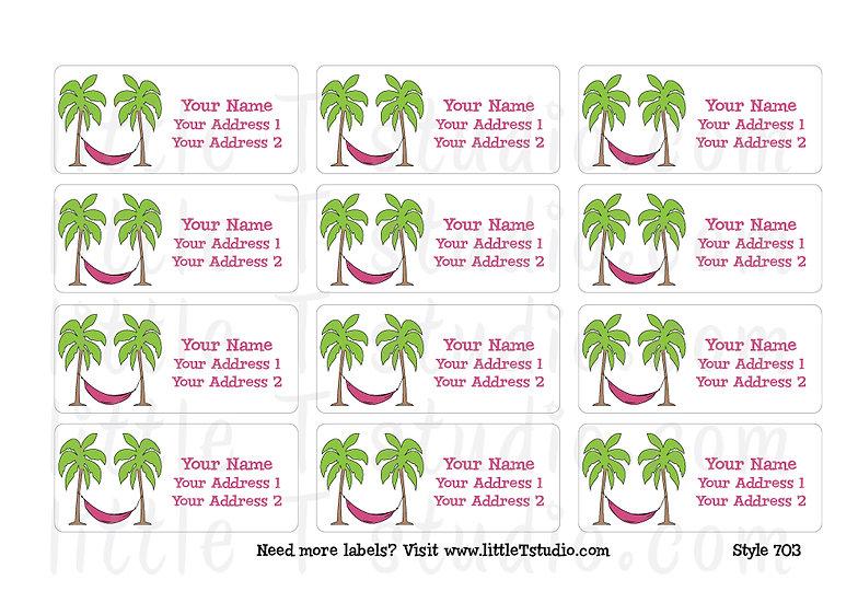 Return Address Labels - Beach Life Palm Trees - Style 703