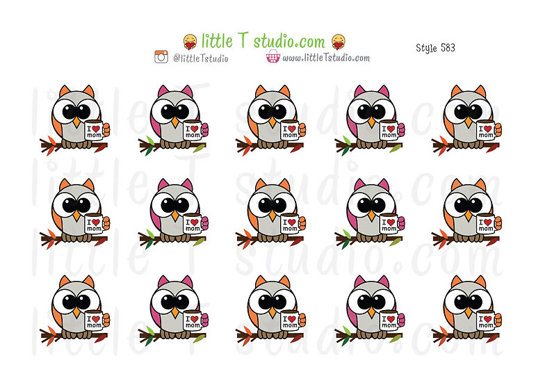 I Love Mom Owl Stickers - Style 683