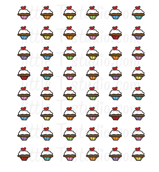 Sweet Cupcake Mini Size Icon Stickers - Style 138M