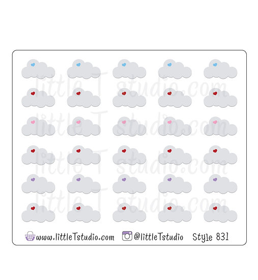 Cloudy Weather or Mood Stickers - Style 831