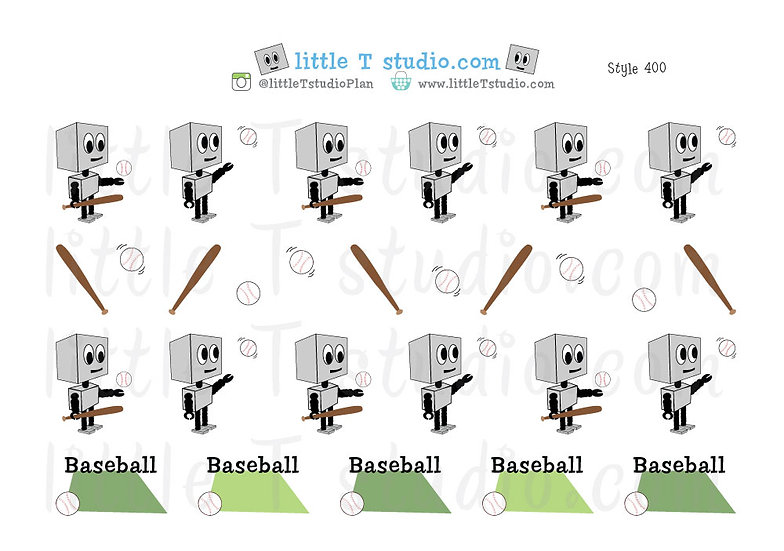 Busy Bots Boy - Baseball Sticker Set - Style 400