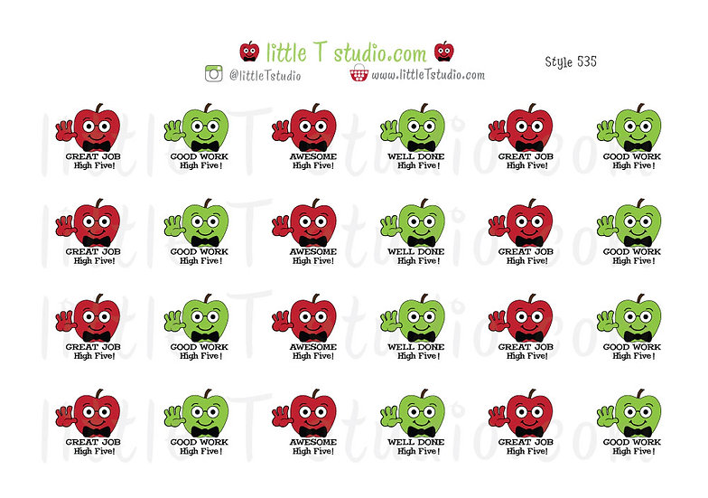 Reward Stickers - Great Job Apple Stickers - Style 535