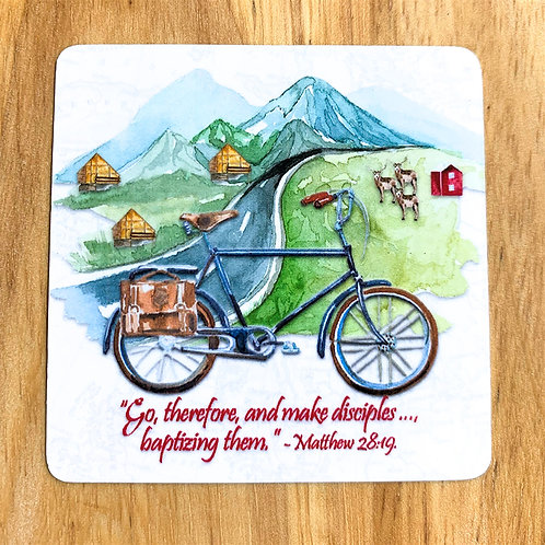 Square Magnet - Go Therefore... Bicycle Mountain Theme