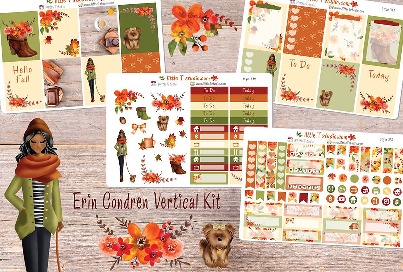 Crisp Morning Erin Condren Vertical Fall Sticker Kit - Dark Skin, Black Hair