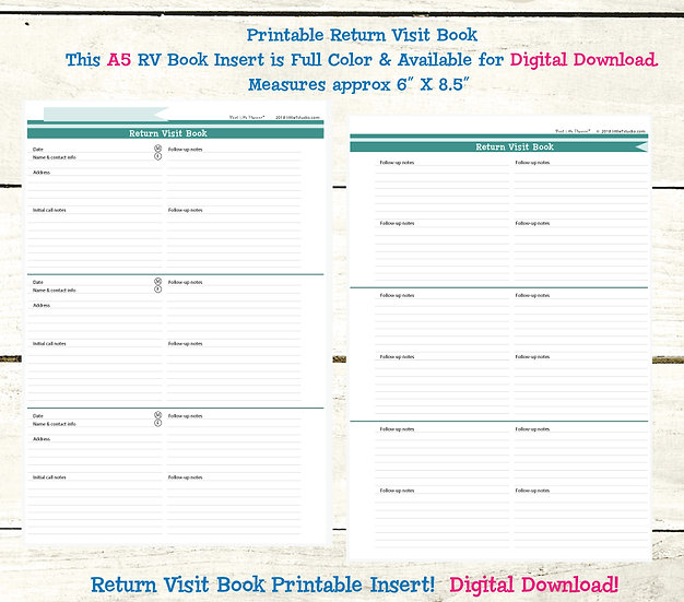 A5 Return Visit Book - Printable PDF - Shades of Spring
