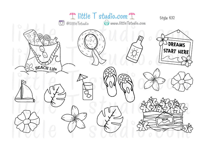 Beach Life Colorable Stickers - Style 632