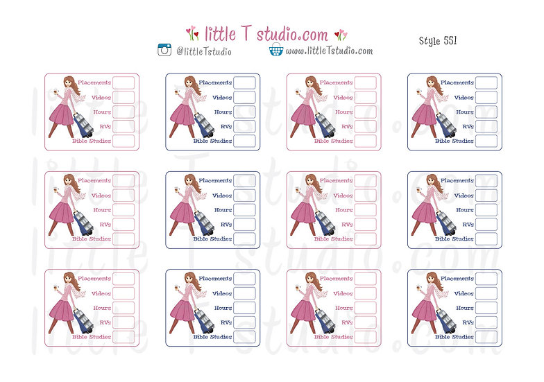 Field Service Tracker Stickers - Best Life Cart Girl - Style 551