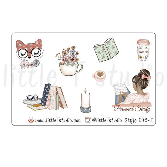 Personal Study Stickers - Tan Skin, Dark Hair - Style 036-T