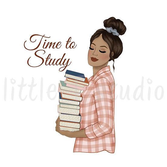 Time to Study Fashion Girl Stickers - Tan Skin, Dark Hair - Style 1100