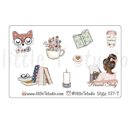 Personal Study Stickers - Dark Skin, Dark Hair - Style 037-T