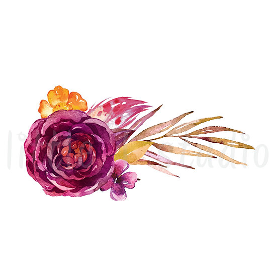 Rose Bouquet Floral Watercolor Stickers - Style 1152