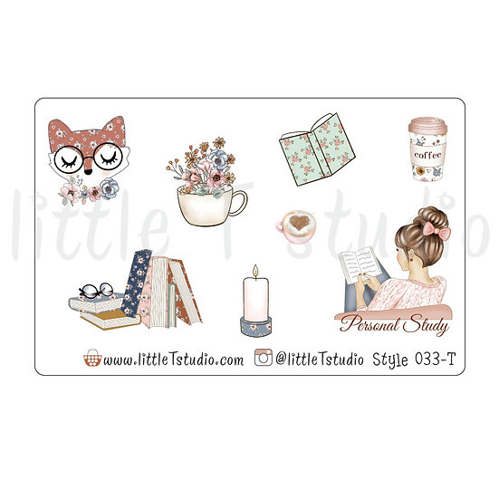 Personal Study Stickers - Light Skin, Light Brown Hair - Style 033-T