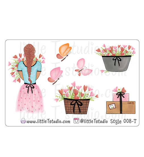 Spring Floral Girl Stickers - Style 008-T